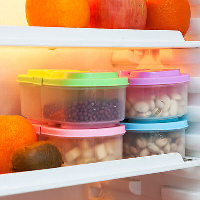 1X Clear Plastic Food Refrigerator Storage Box Container With Multi Colour Lids