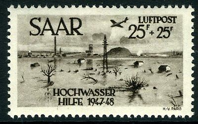GERMANY(SAAR)-1948 Flood Disaster Relief Fund 25f & 25f Sepia Air Stamp Sg 256