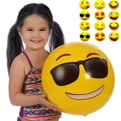 12pc Emoji 18inch/12 inch Emoji Inflatable Outdoor Swimming Beach Balls Set