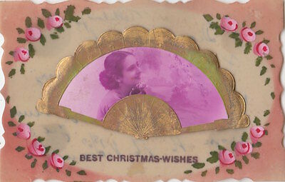 CELLULOID :  Best Christmas Wishes-appliqued celluloid Fan