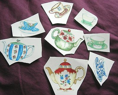 Ceramic Decal Vintage teacups (5) and Teapots (3)