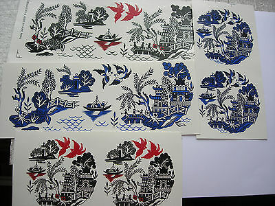 Ceramic Decal Chinese Willow Pattern 2 Blue or Black & Red Mug Wrap or Disc