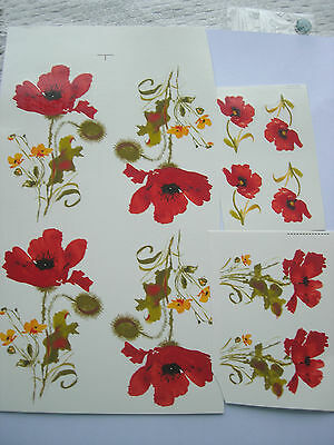 Ceramic Decal Mug Wrap Flowers Bright Red Poppy 3 different sizes