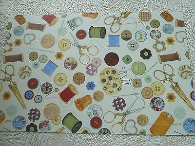 Ceramic Decal Decals Sewing Needles Pins Buttons Thread Chintz 23x15cm