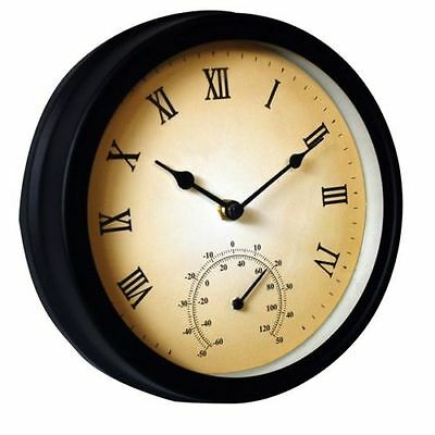 Round Garden Outdoor Wall Clock With Thermometer Vintage Roman Numeral New