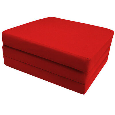 Red 100% Cotton Fold Out Z Bed Cube Navy Blue Guest Mattress Futon Chairbed