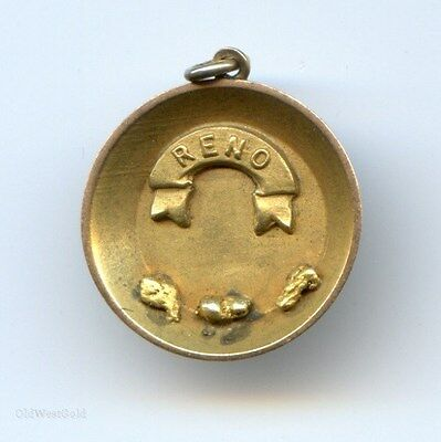 RENO Gold Pan Pendant With Genuine Gold Nuggets / 10K / California Gold Rush