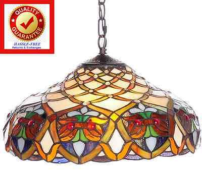 Handcut Stained Glass Tiffany Style Hanging Lamp Antique Victorian - FREE Ship