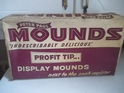 Vintage Peter Paul's Mounds Candy Bar Store Display Box, ESTATE FIND ADVERTISING