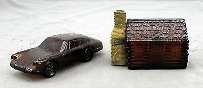 Avon Glass 1968 Porsche Car and Log Cabin House Aftershave Decanters - Set of 2