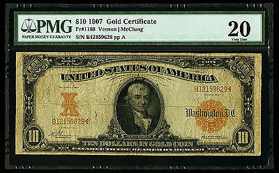 1907 $10 FR 1168 Gold Certificate Vernon Mcclung PMG 20 VERY FINE GOOD FR Number