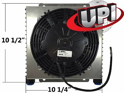 Stacked Plate Hot Rod Engine Or Transmission Oil Cooler With Shroud And Spal Fan