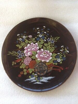 Antique Japanese Black Imperial Kutani Plate Wagon Full Of Flowers Gold Rimmed