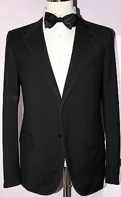 Lanvin 15 Faubourg Solid Black Two Button Dinner Jacket Sport Coat 40 R Caruso