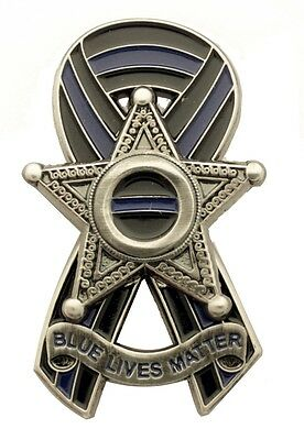Thin Blue Line Ribbon 5 Point Star Badge Blue Lives Matter Pin