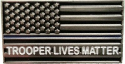 Trooper Lives Matter Thin Blue Line Flag Pin