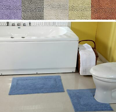 100% Cotton 2 pcs Bathroom Washable Bath Mat & Pedestal Mat Set, In 6 Colours