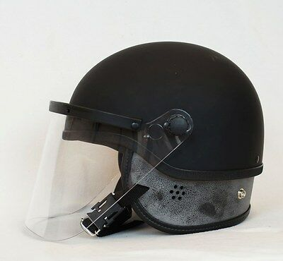 Half Shell Riot Helmet With Face Shield & Pads - Black Made In USA Size S/M