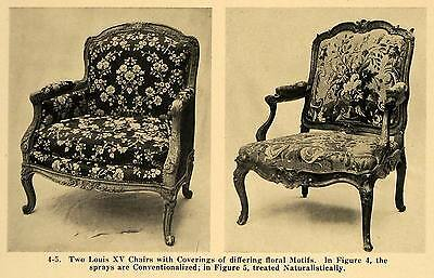 1921 Print Louis XV Armchairs Floral Spray Upholstery ORIGINAL HISTORIC GF4