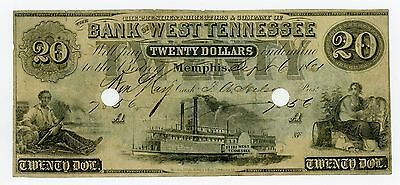1861 $20 The Bank of West TENNESSEE Note - CIVIL WAR Era w/ SHIP