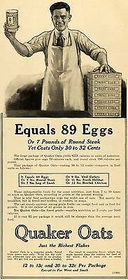 1918 Ad WWI Wartime Food Rationing Quaker Oats Pricing - ORIGINAL TIN3