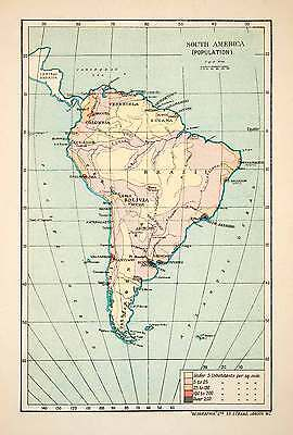 1913 Lithograph Map Population Density South America Inhabit Continent XGVB7