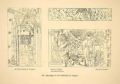 1906 Print Angers Cathedral Apocalypse Tapestry Prophecy Sky Band Loose XDE7