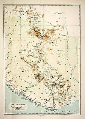 1906 Lithograph Antique Map Eastern Liberia Africa Greenville Palmas XGQB5