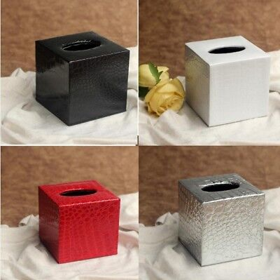 Square PU Leather Tissue Box Paper Cover Napkin Holder Home Decor 12x12x12CM