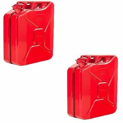 2 X Red Jerry Metal Tin Can 20 L Rust Proof Race/Rally/Camping/Military Fuel/Oil