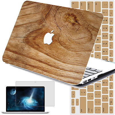 WOOD CUSTOM PAINT Rubberized Hard Case Cover For Macbook Air Pro 13