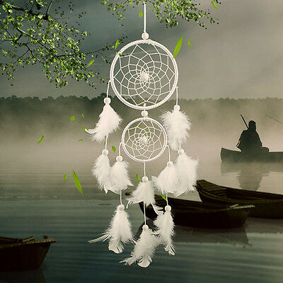 Large Double Ring Feather Handmade Dream Catcher Car Wall Hanging Decor Ornament