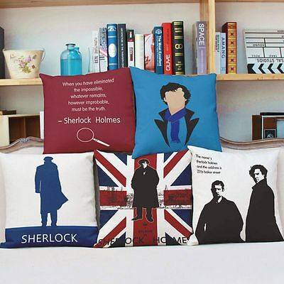 Retro Home Decorative Cotton Linen Pillow Case Cushion Cover Sherlock Holmes Hot