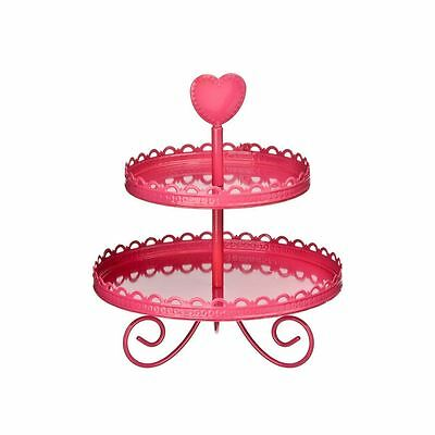 2 Tier Serving Cake Stand Hot Pink Enamel Wedding Birthday Party Stand
