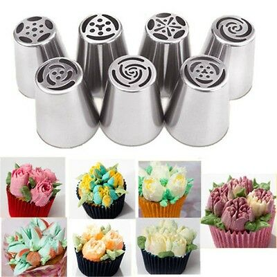 7 Styles Russian Flower Icing Piping Nozzles Tips Pastry Cake Baking Tool DIY