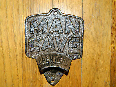 """Large 6"""" Rustic Cast Iron Wall Mounted """" MAN CAVE """" Bottle Opener"""