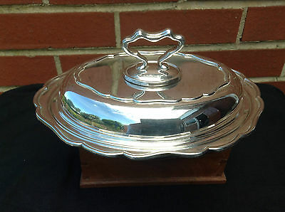 Antique Silver Plate Oval Serving Dish Lid & Removable Handle - Mappin & Webb
