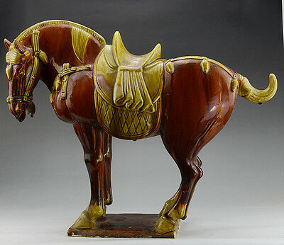 Ancient China Tang Dy Red SanCai Pottery Big horse Statue