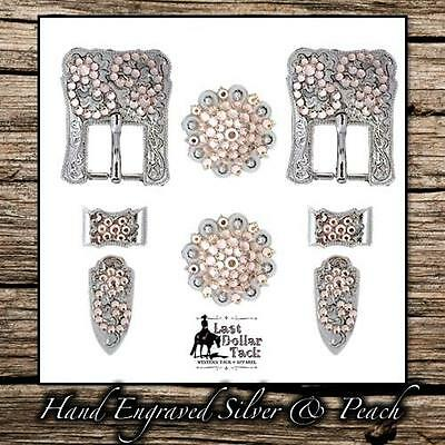 Hand Engraved German Silver & Peach Crystal Buckle Set For Western Headstall