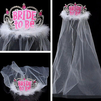 Crown Tiara Lace Veil Hen Night Party Accessories Wedding Bridal Bride To Be