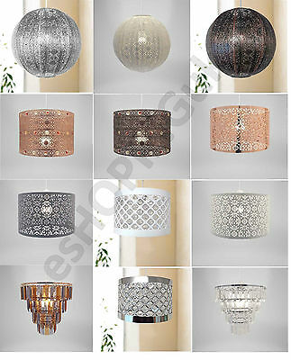 Chandelier Chic Ceiling Light Pendant Shade Crystal Droplet Fitting Easy Fit New