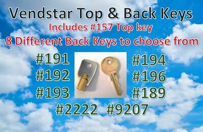 Vendstar 3000 6000 Candy Machines Keys for Vending  TOP & BACK KEY SET