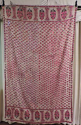 Antique 19Th C Ethnic Rich Hand Embroidered Large Muslin Panel