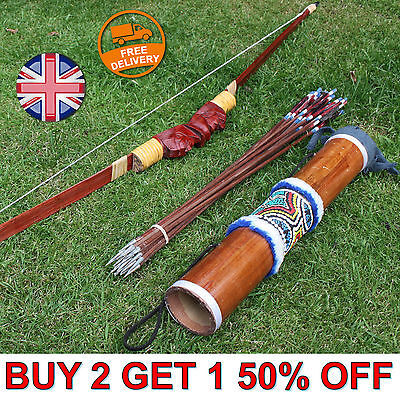 Handmade Bow and Arrow Archery Set + 10 Arrows + Wooden Carry Case Recurve NEW