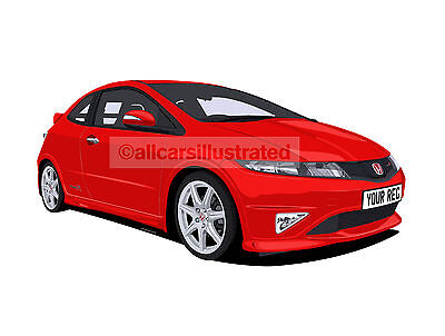 Honda Civic Type R (Fn2) Car Art Print Picture (Size A4). Personalise It!
