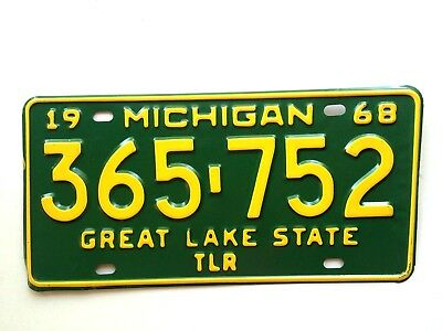 Michigan 1968 Trailer Vintage License Plate Garage Old Tag Man Cave Airstream