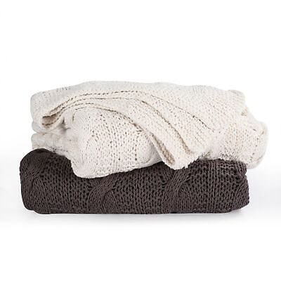 Super Chunky Hand Knitted Cotton Blanket Bed Sofa for Throws, 4 Colour & 2 Sizes