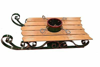 Winter Sled Christmas Tree Holder Tree Stand Wood Metal Red Green