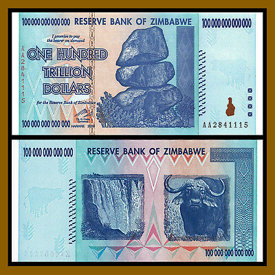 Zimbabwe 100 Trillion Dollars, 2008 AA Unc, 50 20 10 Trillion Series
