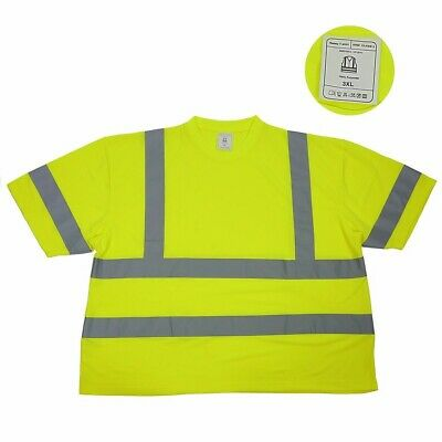 High Visible T-shirt Safety Shirt Work Class 2 Wear XXXL Reflective Protective